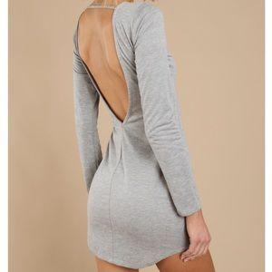 Grey Backless Bodycon Dress
